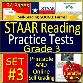 3rd Grade STAAR Test Prep Practice Tests Reading - Printable AND Self-grading!