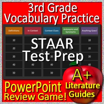3rd Grade STAAR Reading Review Test Prep Vocabulary Review Game