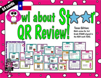 3rd Grade Math STAAR review NEW TEKS Task Cards - print with or without QR codes