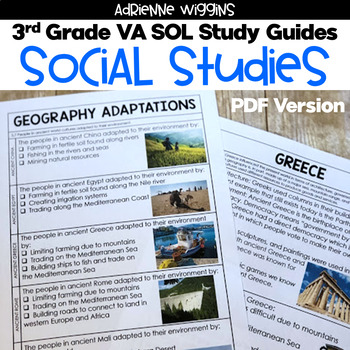 3rd Grade STUDY GUIDES - All Subjects (VA SOL)
