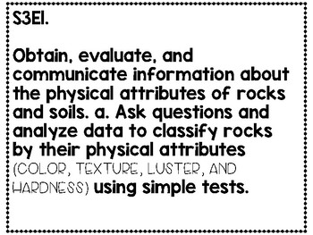 3rd Grade Science CCGPS Standards one per page