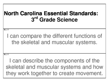 """3rd Grade Science Essential Question """"I Can"""" Cards (North"""