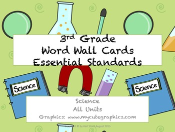 3rd Grade Science Essential Standards Word Wall Cards