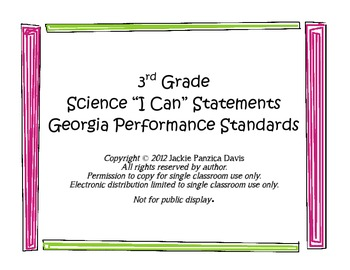 3rd Grade Science I Can Statements - Georgia Performance Standards (GPS)