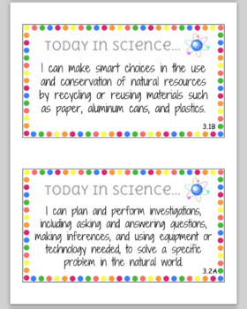 3rd Grade Science I Can Statements TEKS