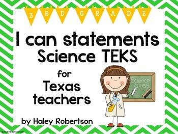 "3rd Grade Science ""I can"" statements- Chevron pattern (usi"