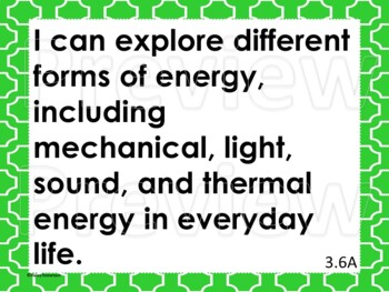 """3rd Grade Science """"I can"""" statements- Tile pattern (using TEKS)"""