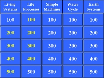 3rd Grade Science Jeopardy ®