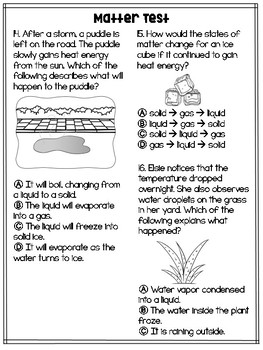 3rd Grade Science Matter Test: Big Idea 8 and 9