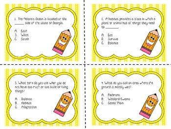 3rd Grade Science Milestone / CRCT Test Prep Task Cards- Set B