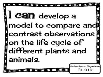 """3rd Grade Science Missouri Learning Standards """"I can"""" Statements and Checklists"""