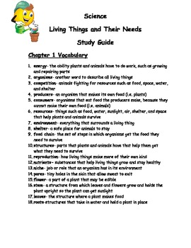 3rd Grade Science Plants & Animals Assessment and Study Guide