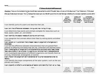 3rd Grade Science Self Assessment