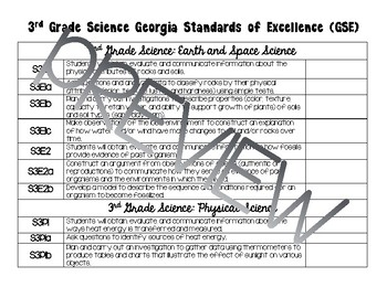3rd Grade Science Standards Checklist (Georgia)