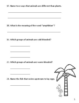 3rd Grade Science Study Guide Animal Classification, Vertebrates