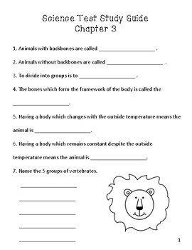3rd Grade Science Study Guide Animal Classification, Vertebrates, ABEKA Science