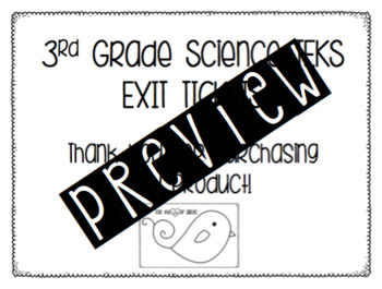 3rd Grade Science TEKS Exit Tickets