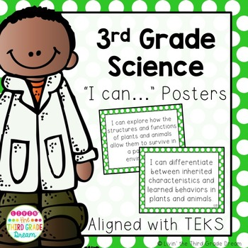 3rd Grade Science TEKS I Can... Statements Green Polka Dot