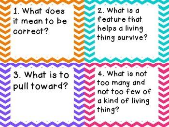 3rd Grade Science Test Prep Review Question Cards, CC, Georgia Milestones