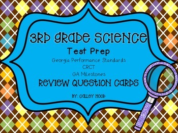 3rd Grade Science Test Prep Review Question Cards CRCT, GA