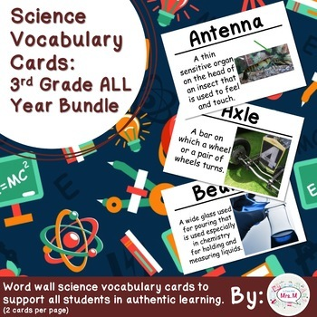 3rd Grade Science Vocabulary Cards: All Year Bundle (Large)