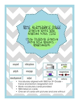 3rd Grade Science Word Wall Aligned to TEKS - Force, Motion, and Magnetism