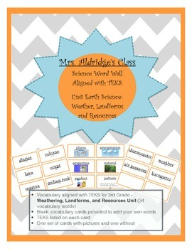 3rd Grade Science Word Wall Aligned to TEKS - Weathering, Landforms, & Resource