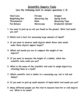 3rd Grade Scientific Tools Assessment and Answer Key