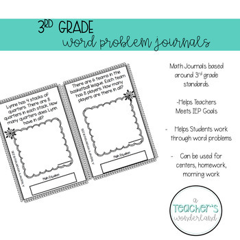 3rd Grade September Math Word Problem Journal