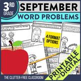 3rd Grade September Word Problems printable and digital ma