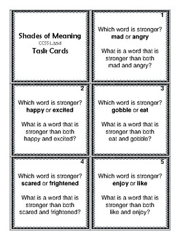 3rd Grade Shades of Meaning Wrksts & Cards (Aligned to American Reading Co IRLA)