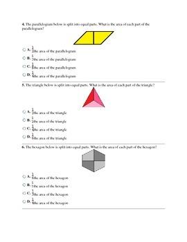 3rd Grade Shape Partitions CCSS Assessment