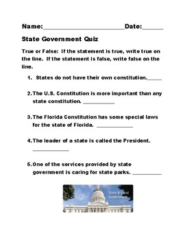 3rd Grade Short State Government Quiz