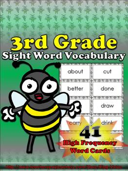 3rd Grade Sight Word Vocabulary - 41 High Frequency Word Cards - King Virtue