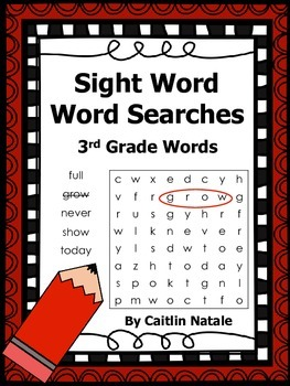3rd Grade Sight Word Word Searches