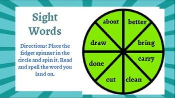 Word Work- 3rd Grade Sight Words Fidget Spinner Game Board