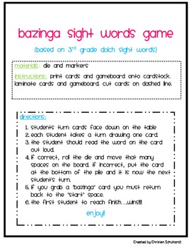 3rd Grade Sight Words Game - Bazinga!