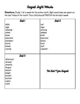 3rd Grade Sight Words for each Month