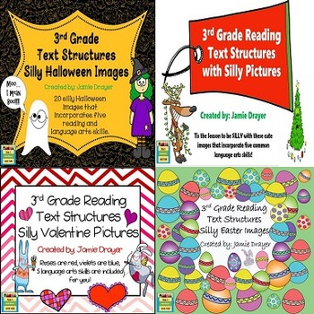 3rd Grade Silly Holiday Images Bundle: Reading and Language Arts Skills