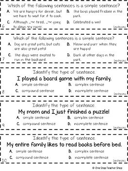 3rd Grade Types of Sentences Game | Simple, Compound, and Complex Sentences
