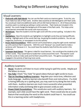 3rd Grade Site Word Packet with Activites