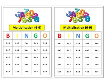 3rd Grade Small Group Multiplication Bingo Game (Facts 6-9) for Common Core