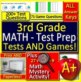 3rd Grade Test Prep Math Practice AND Games Bundle - Spiral Review CCSS