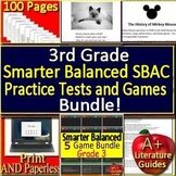 Smarter Balanced Test Prep SBAC ELA Practice Tests and Games Third Grade Bundle