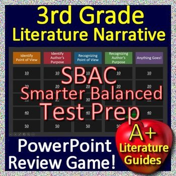 3rd Grade Smarter Balanced Test Prep SBAC Reading Literature Review Game