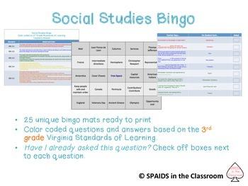 3rd Grade Social Studies Bingo