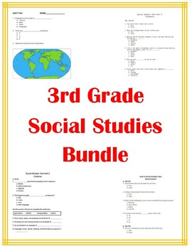 3rd Grade Social Studies Bundle All Tests and Quizzes!