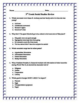 3rd Grade Social Studies CRCT Review