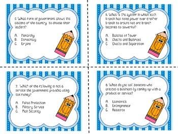 3rd Grade Social Studies Milestone / CRCT Test Prep Task Cards-SET B