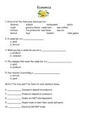 3rd Grade Social Studies Economics Worksheet & Answer Key